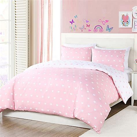 pink reversible comforter lala bash kelly hearts reversible comforter set in pink