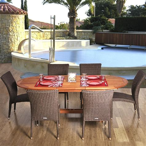 Amazonia Lemans 6 Person Resin Wicker Patio Dining Set