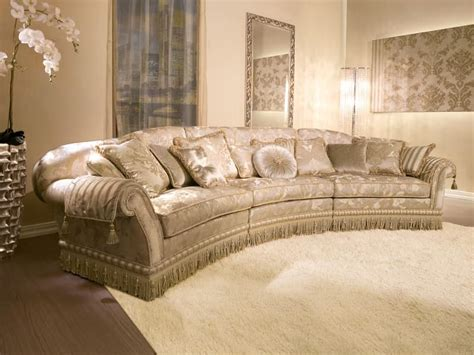 Classic Style Sofa by Upholstered Semicircular Sofa For Classic Style Living