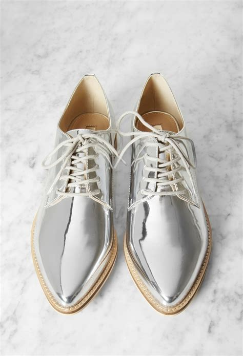 silver oxford shoes womens forever 21 metallic faux leather oxfords in metallic lyst
