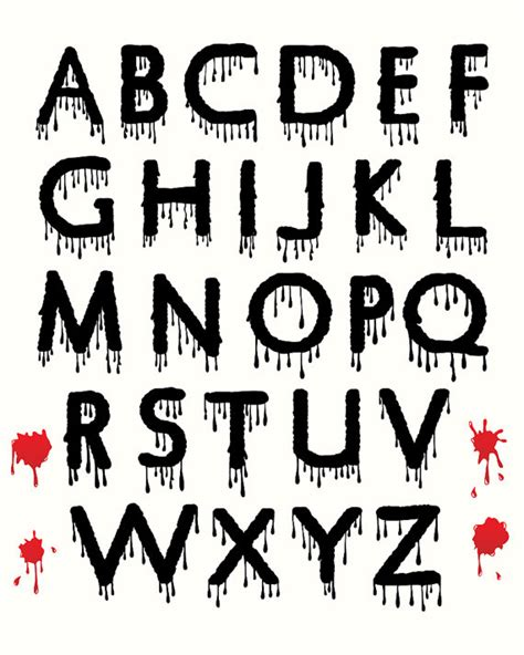 free printable halloween alphabet letters digital halloween clipart alphabet dripping blood spooky