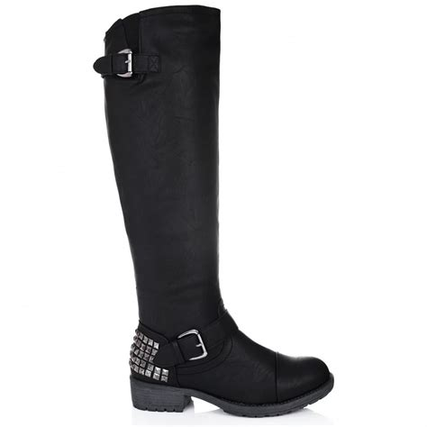 buy oxide flat knee high biker boots black leather style