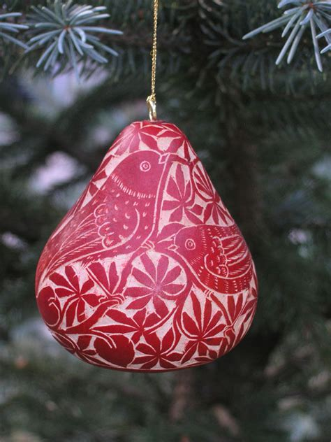 red tropical jungle hand carved gourd christmas ornament