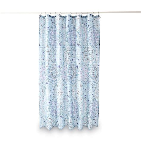 essential home curtains essential home fabric shower curtain moroccan tile