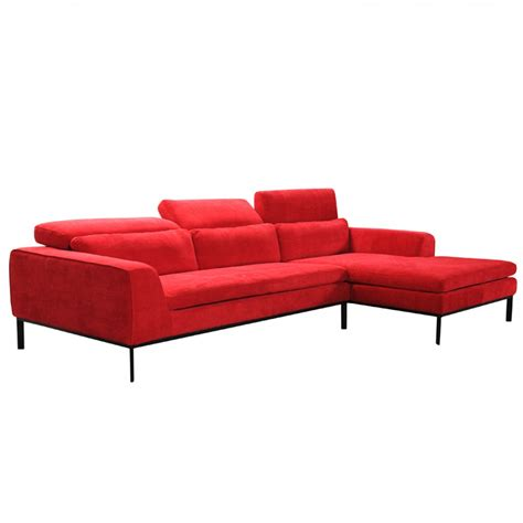 contemporary fabric sectionals 2 piece clayton modern red fabric sectional