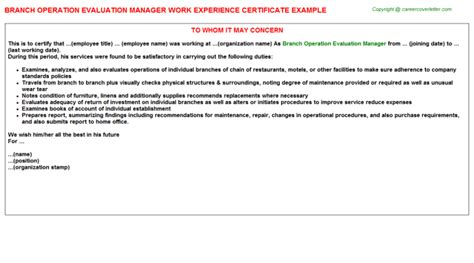 Appraisal Letter For Manager branch operation evaluation manager work experience