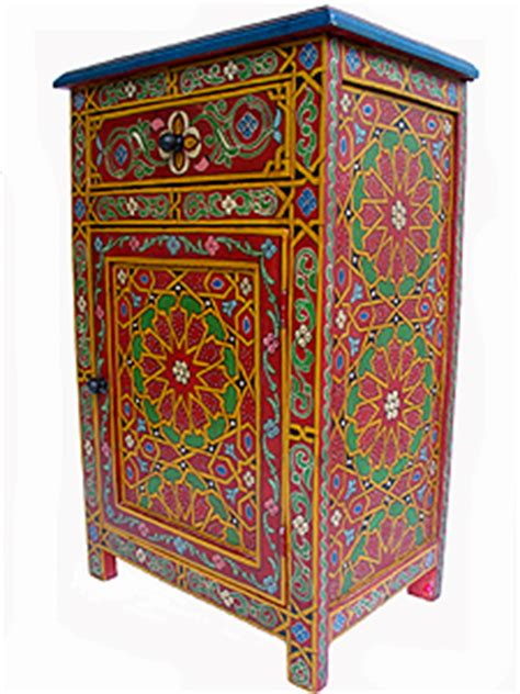 moroccan handpainted night stand tables wood furniture  morocco  moroccan caravan