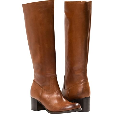 light brown quot cuoio quot nappa leather classic knee high