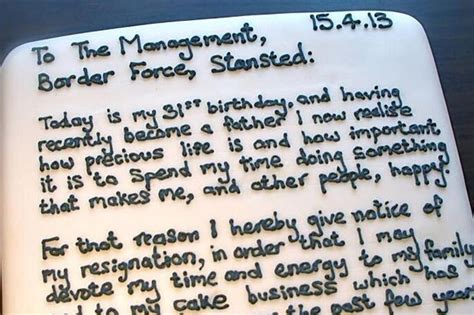 Best Resignation Letter Cake Resignation Letter Is Literally The Icing On The Cake For Stansted Worker As He Quits In