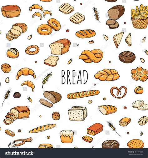 food doodle bread seamless pattern doodle stock vector