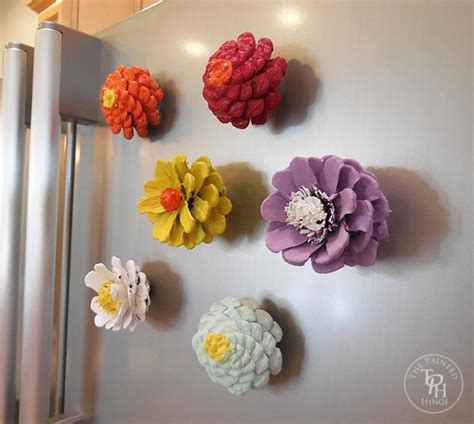 how to make pine cone flowers flower power pinterest pine cone flower refrigerator magnets favecrafts com