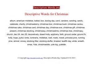 descriptive words for christmas descriptive words list