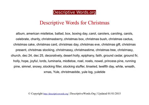 descriptive words for christmas descriptive words list
