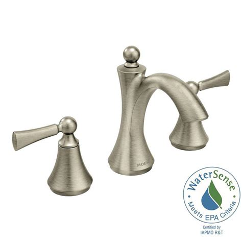 moen bathroom faucets home hardware moen wynford 8 in widespread 2 handle high arc bathroom faucet with lever handles in brushed