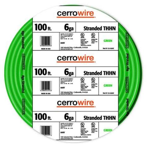 cerrowire 100 ft 6 green stranded thhn wire 112