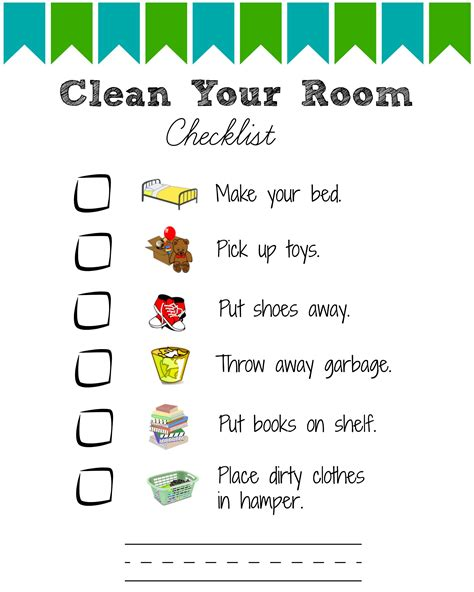 clean bedroom checklist printable room cleaning checklists for kids room