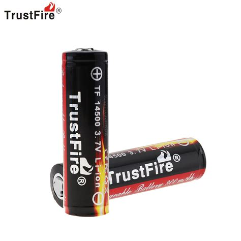 Trustfire 14500 Li Ion Battery 900mah 3 7v trustfire genuine capacity 900mah 14500 3 7v li ion rechargeable battery with protected pcb