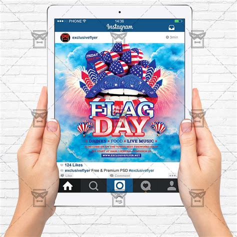 Flag Day Premium Flyer Template Instagram Size Flyer Exclsiveflyer Free And Premium Psd Instagram Ad Template Psd
