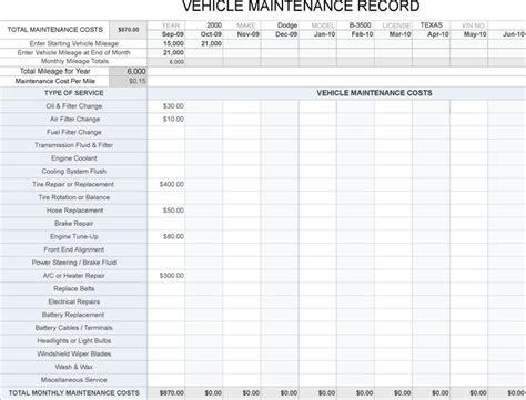 vehicle maintenance log free premium
