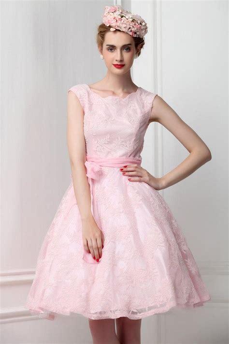Dress Putih Flower lace sleeveless pink bridesmaid dress ribbon bow pastel pink lace bridal reception dress