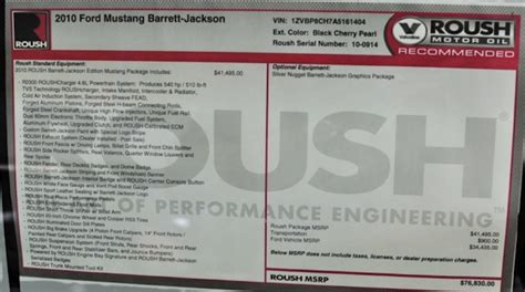 Window Decals Jackson Ms by Black Cherry 2010 Roush Barrett Jackson Ford Mustang Coupe