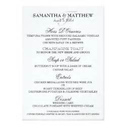 wedding menu sles templates wedding menu template personalize card zazzle