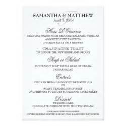wedding menu card template wedding menu template personalize 5x7 paper invitation