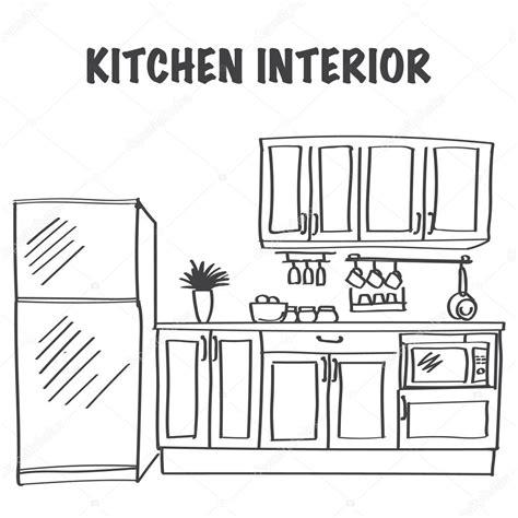 kitchen sketch sketch of modern kitchen interior stock vector 169 julija