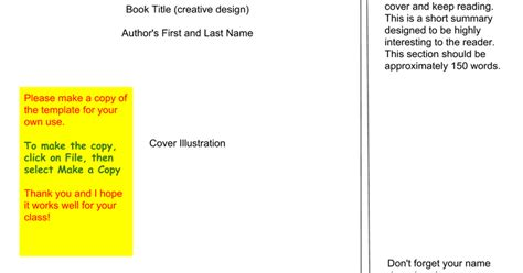 Book Jacket Template Google Slides Book Template Docs