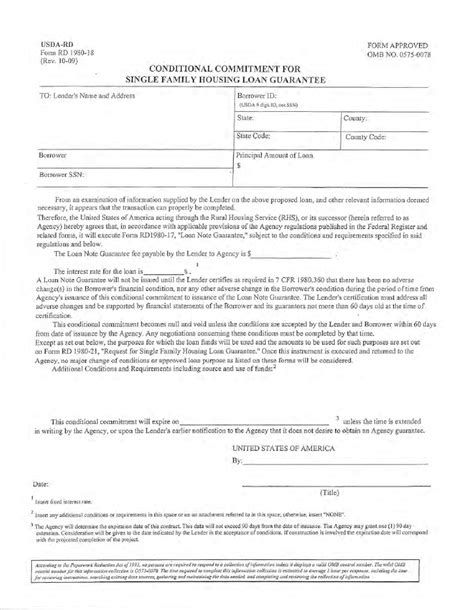 Conditional Commitment Letter Mortgage Usda Lender Funding Notice 8 23 2010