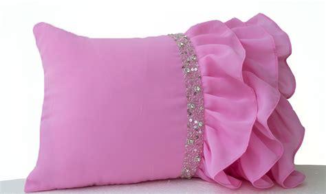 Ruffle Decorative Pillows by Pink Ruffled Throw Pillows Ruffle Pillows 12x20 Pink Lumbar
