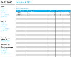 free invoice template microsoft excel templates