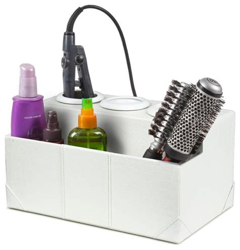 bathroom storage for hair tools white crocodile leatherette hair styling station