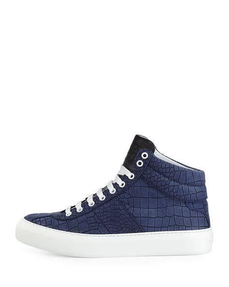 jimmy choo sneaker lyst jimmy choo belgravia croc embossed sneakers in blue