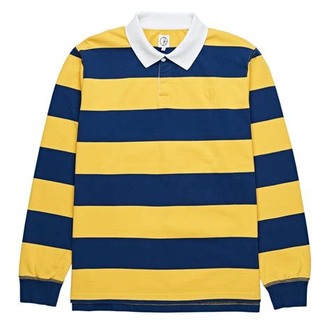 Polo Yellow Stripe Blue polar skate co x chatman block stripe sleeve polo shirt