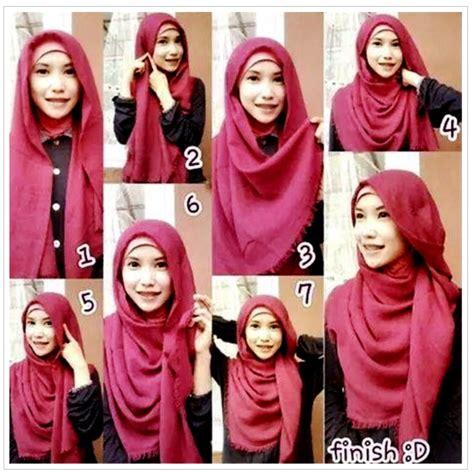 Cara Memakai Jilbab Segi Empat Ala April kumpulan cara mudah pakai kerudung segi empat bermodel citra muslima