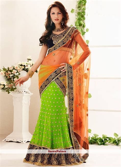 Buy Green And Orange Faux Georgette Lehenga Style Saree Online