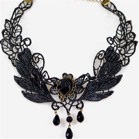Gemstone Lace Choker fashion pendant necklace jewelry lace gemstone