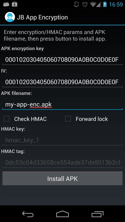 android encryption app using app encryption in jelly bean