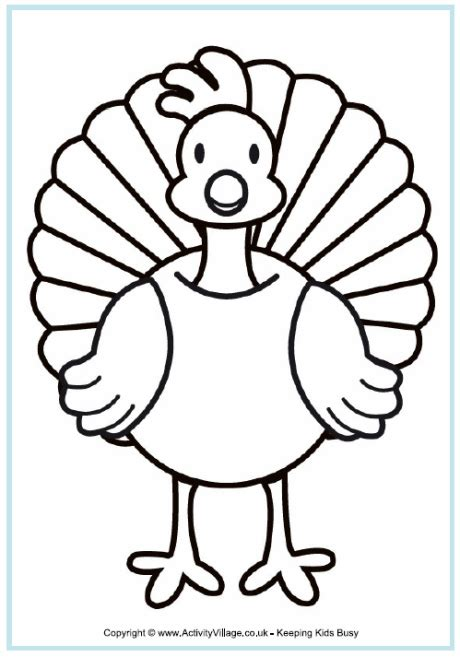 coloring pages of turkeys for preschool turkey coloring page a4 free pinteres