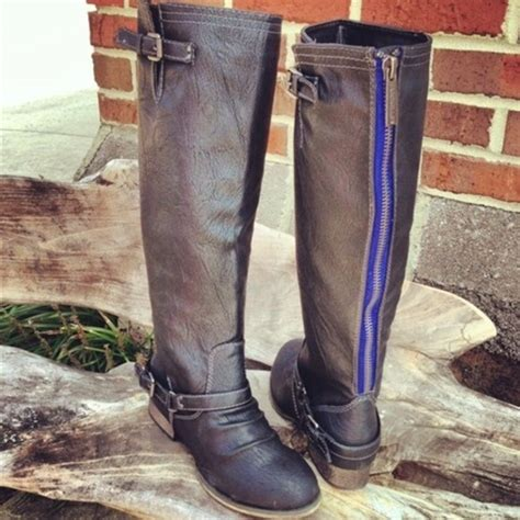 26 boots new blue zipper grey boots from