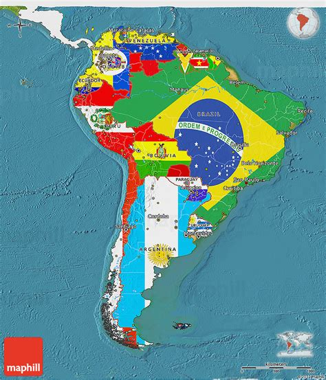 south america map and flags flag 3d map of south america single color outside