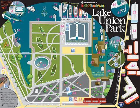 seattle map south lake union map at lake union park
