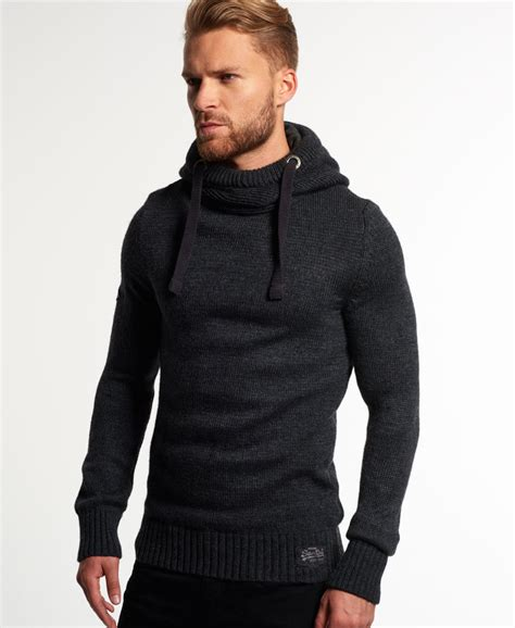 New Mens Superdry Sd Knit Hoodie Anthracite Ebay