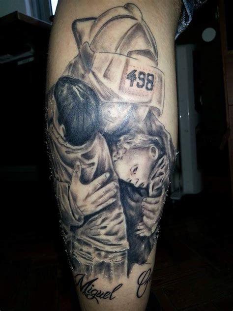 bombeiro com seus filhos tatuagem com tatuagens tattoo