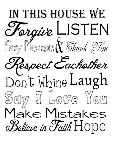 printable house rules template house rules free printable phrases quotes kids
