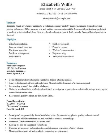 22 free fraud investigator resume sles sle resumes