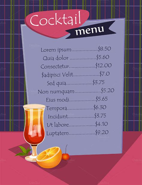 cocktail list template 29 cocktail menu templates free sle exle format