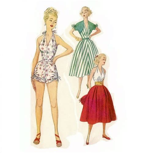 kimono playsuit pattern 1950s playsuit or bathing suit pattern halter one piece