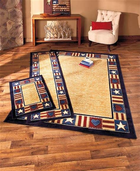 Americana Area Rug Americana Patterned Olefin Area Runner Or Accent Rug W Nonslip Jute Backing Ebay
